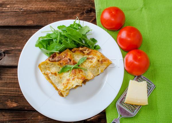 Foto d'archivio: Lasagne · bianco · piatto · pomodoro · formaggio