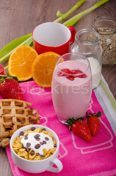Fresa zalamero saludable desayuno vidrio Foto stock © Peteer