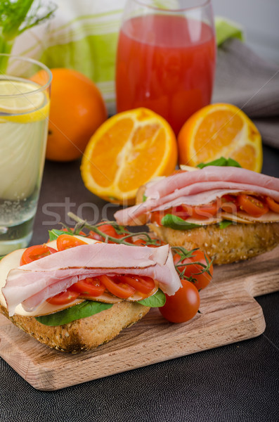 Stock photo: Wholemeal roll with prague ham