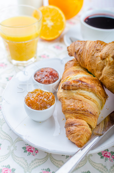 Francés desayuno delicioso croissant café atasco Foto stock © Peteer
