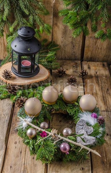 Natale avvento ghirlanda fatto in casa bella regalo Foto d'archivio © Peteer