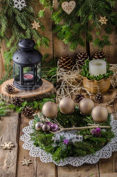 Noel advent çelenk ev yapımı güzel hediye Stok fotoğraf © Peteer