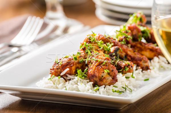 Stok fotoğraf: Sıcak · kanatlar · basmati · pirinç · ızgara · tavuk · akşam · yemeği