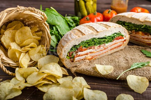 Italien sandwich plein savoureux jambon fromages Photo stock © Peteer