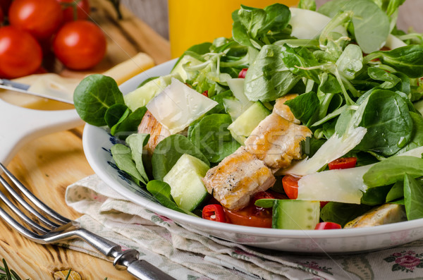 Stock photo: Salad with grilled chicken