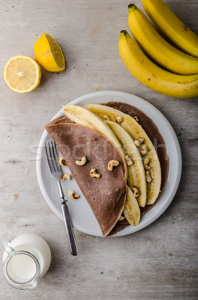 Stok fotoğraf: çikolata · muz · fındık · süt · meyve · arka · plan