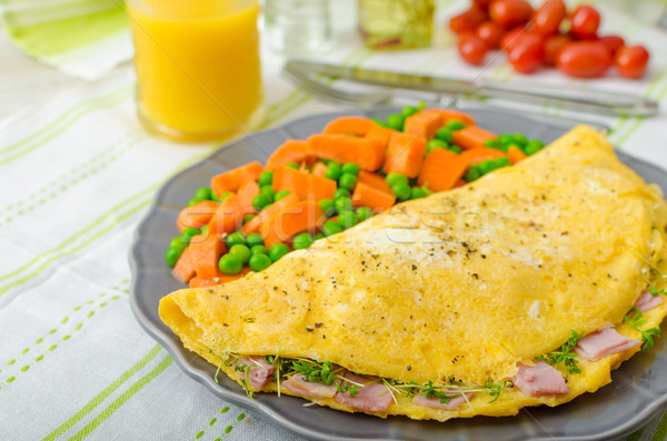 Ham and cheese omelette , healthy vegetable Stock photo © Peteer