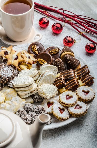 Christmas cookies and fresh tea Stock photo © Peteer
