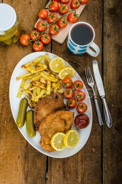большой куриные домашний чили картофель фри помидоры черри Сток-фото © Peteer