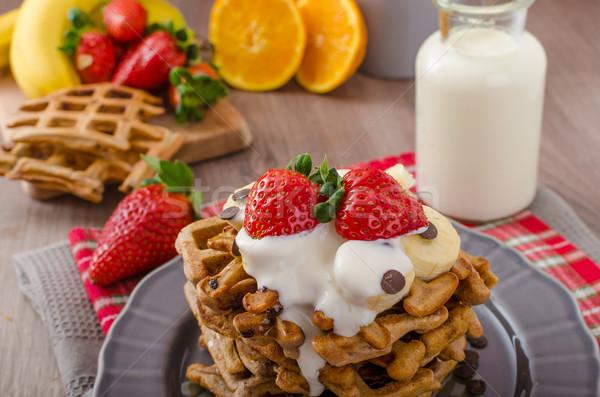 ストックフォト: チョコレート · チップ · 果物 · バナナ · イチゴ · ミルク