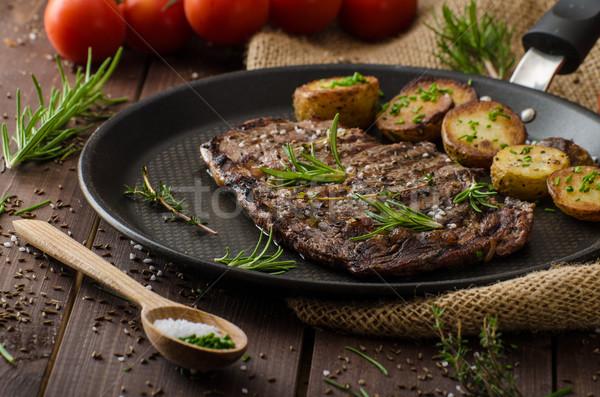 Stock photo: Beef rib eye steak