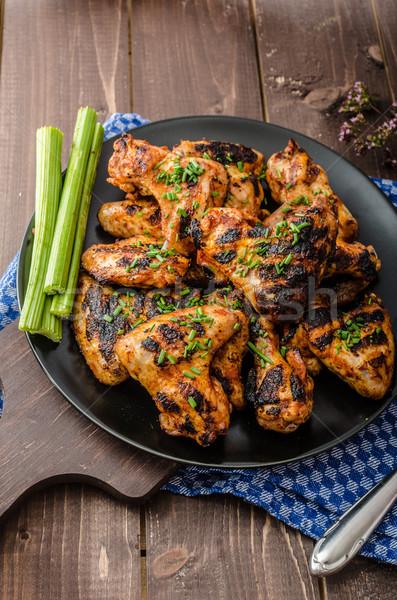 Stok fotoğraf: Barbekü · ızgara · tavuk · kanat · kanatlar · sıcak · baharatlı