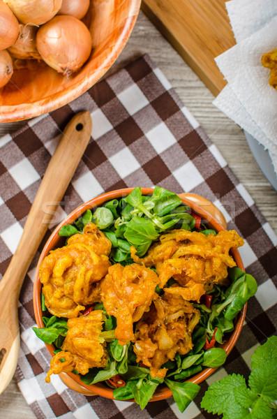 Cebola comida de rua salada branco indiano Foto stock © Peteer