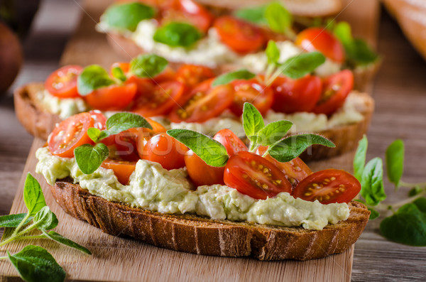 Fresh cheese panini bread with herbs Stock photo © Peteer