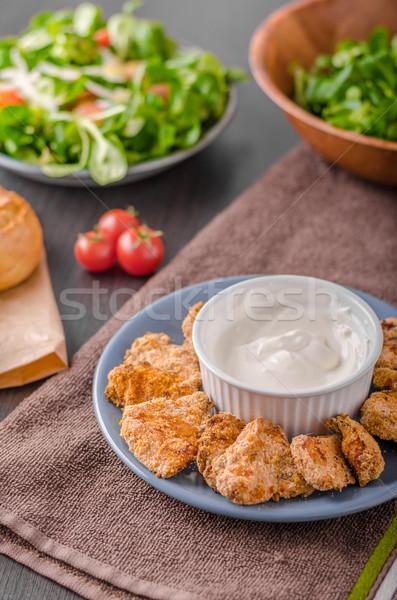 Delish chicken popcorn with garlic dip Stock photo © Peteer