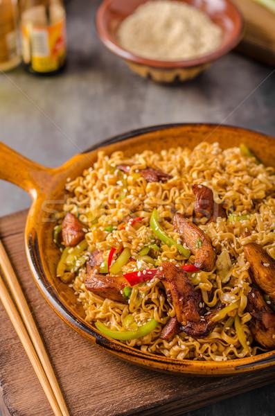 中国語 麺 鶏 ホット 唐辛子 醤油 ストックフォト © Peteer
