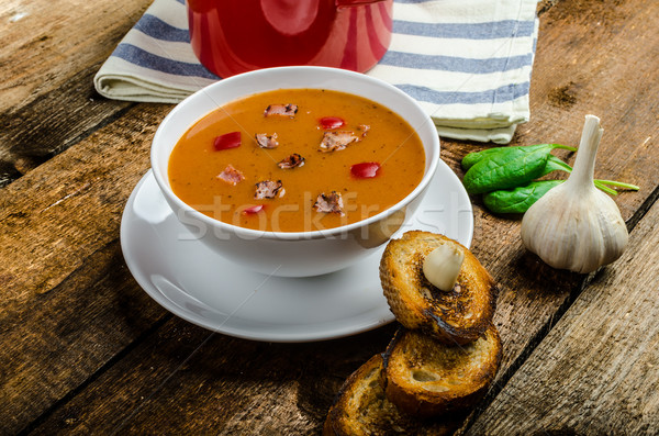 Сток-фото: суп · хрустящий · чеснока · тоста · домашний