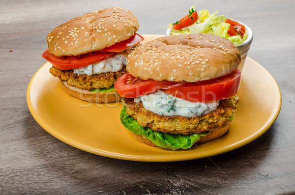 Vejetaryen Burger domates otlar sarımsak Stok fotoğraf © Peteer