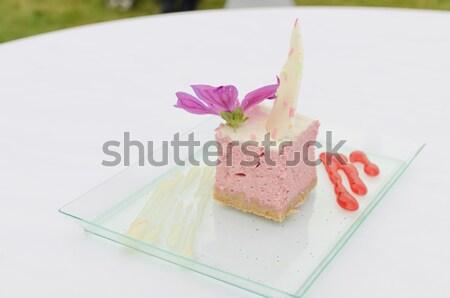 малиной чизкейк Печенье марципан кремом цветок Сток-фото © Peteer