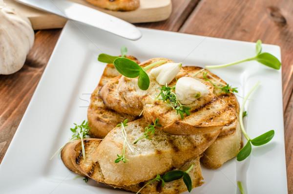 ニンニク トースト 焼いた パーニニ オーガニック ストックフォト © Peteer