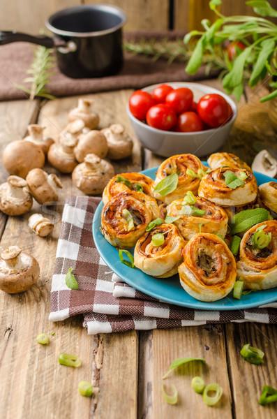 пиццы ветчиной сыра грибы зеленый Сток-фото © Peteer