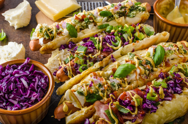 говядины Hot Dog капуста бекон сыра Сток-фото © Peteer