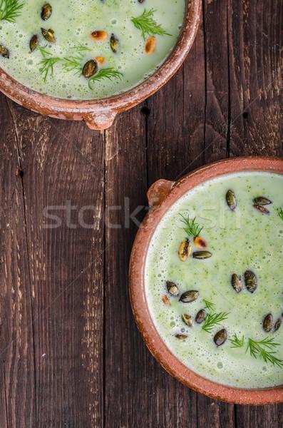 Broccoli soup vintage photography Stock photo © Peteer