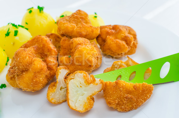 Frito couve-flor bom verde faca batata Foto stock © Peteer