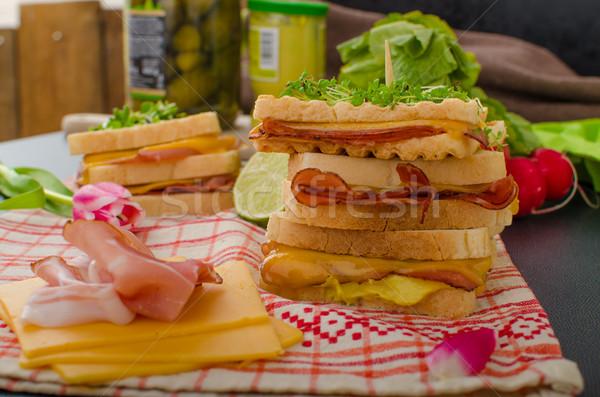 Szendvics káposzta marhahús fűszeres öntet friss Stock fotó © Peteer