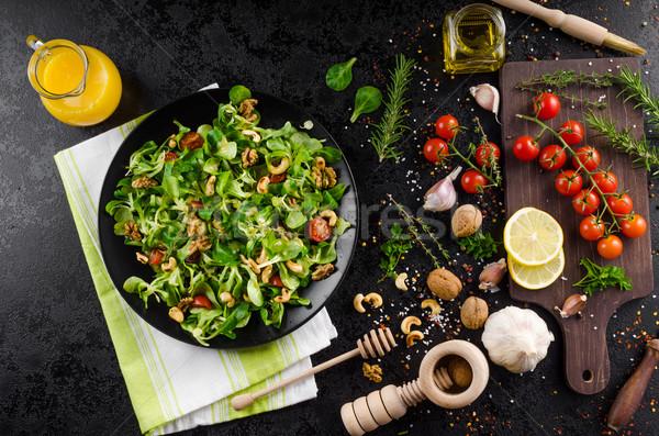 Stockfoto: Sla · salade · mosterd · dressing · voedsel · tabel