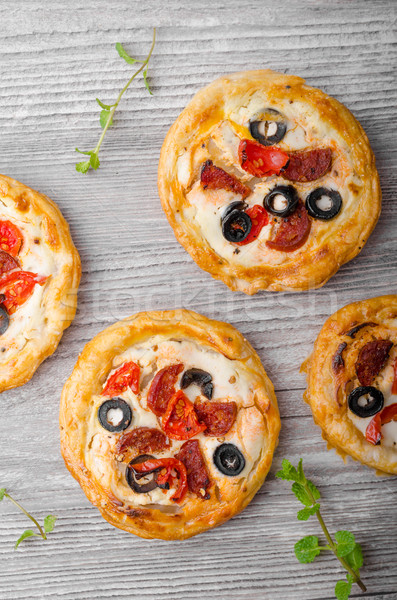 Puff pastry mini pizza Stock photo © Peteer