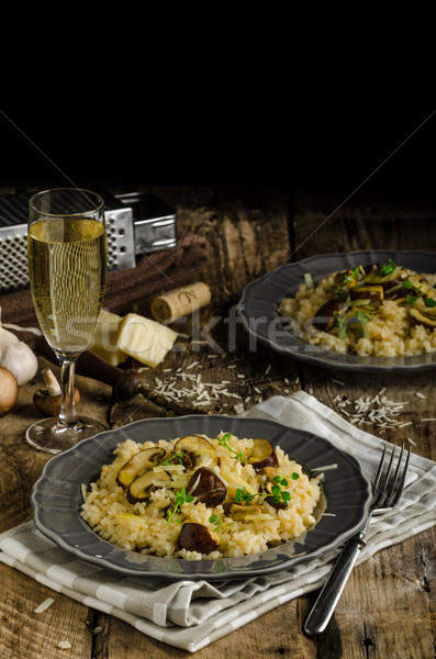 Original italiano risotto cogumelos queijo parmesão comida Foto stock © Peteer