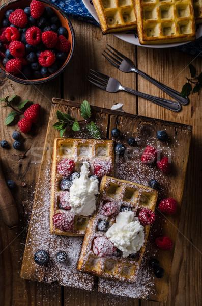 Ягоды черника малина сахар Vintage древесины Сток-фото © Peteer
