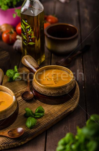 Vegetales sopa de tomate alimentos foto listo Foto stock © Peteer