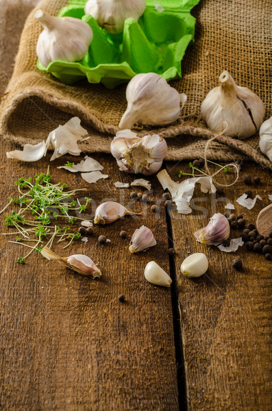Domestic bio garlic - Czech, spices and fresh microgreens Domestic bio garlic Stock photo © Peteer