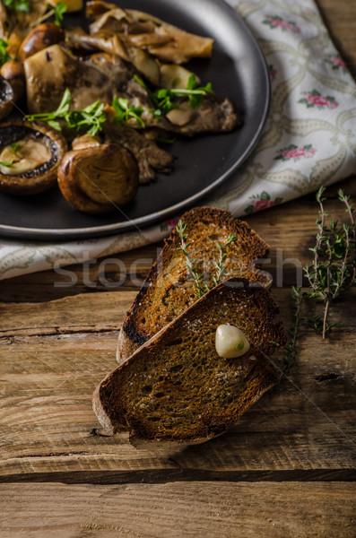 Stock fotó: Asztal · kávé · tea · sült · friss · gombák