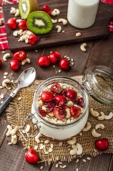 Doméstico cereja iogurte maravilha sementes fruto Foto stock © Peteer