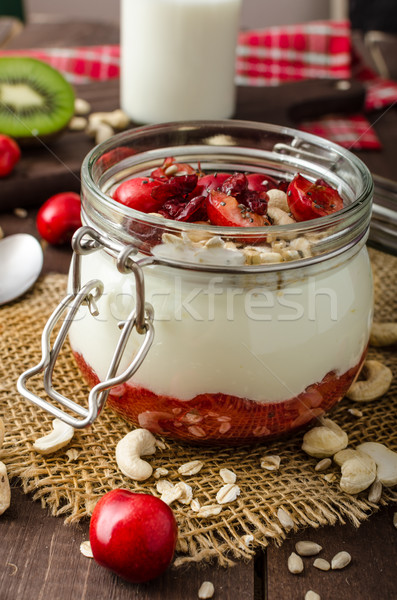 Domestic cherry yogurt with wonder chia seeds and granula Stock photo © Peteer