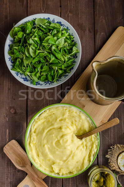 Schnitzel with mashed potatoes and salad Stock photo © Peteer