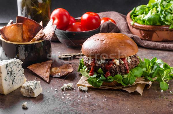 Сток-фото: говядины · Burger · голубой · сыр · домашний · Начо · чипов