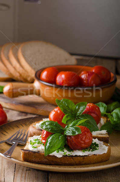 Bread cheese spread baked tomato Stock photo © Peteer