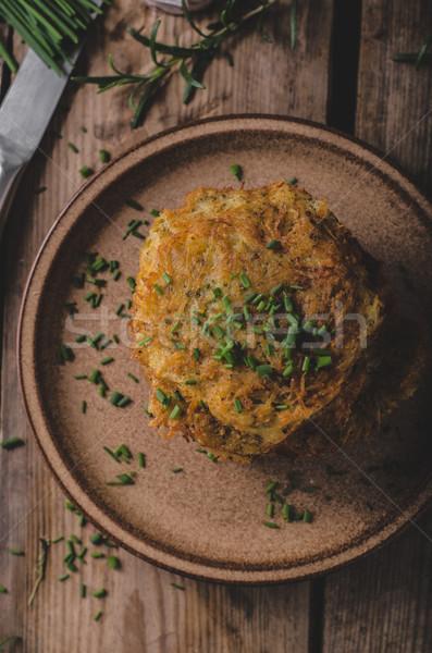 Patates krep ekşi krema otlar sarımsak mutfak Stok fotoğraf © Peteer