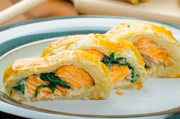 Salmon baked in puff pastry Stock photo © Peteer