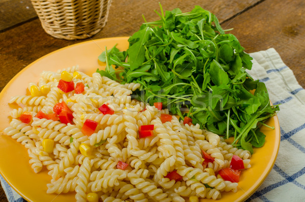 Pasta salad with vegetable and arugula salad with olive oil Stock photo © Peteer