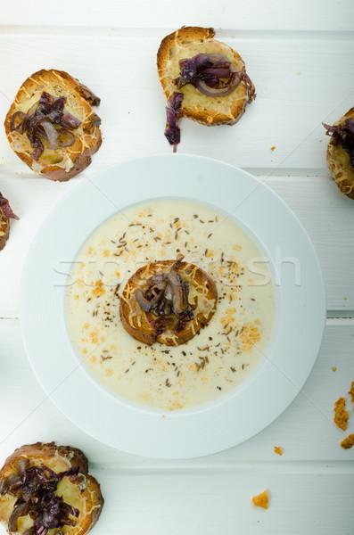 クリーミー タマネギ ニンニク スープ トースト ストックフォト © Peteer