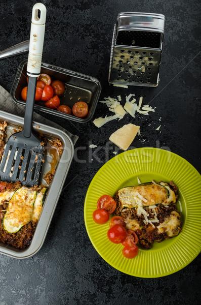 Calabacín cinta parmesano queso cena Foto stock © Peteer