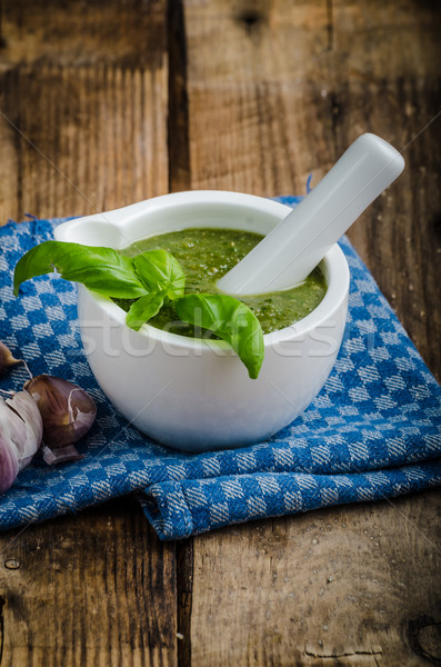 Pesto from basil and nots Stock photo © Peteer