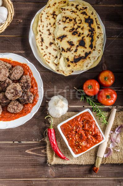 Stockfoto: Indian · lunch · vlees · brood · gekruid