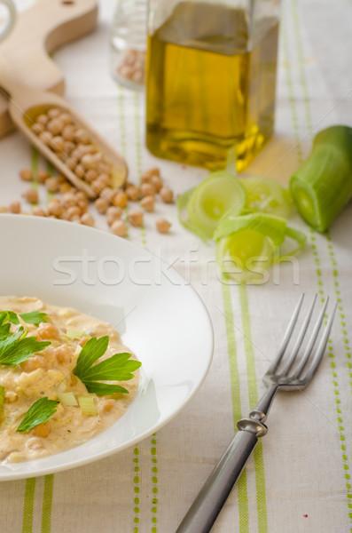 Chickpeas with paprika, cream sauce Stock photo © Peteer