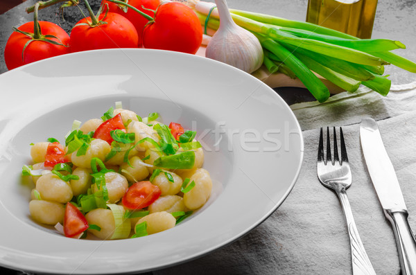 Foto stock: Vegetariano · tomates · hierbas · aceite · de · oliva · ajo